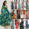 BOHO Womens Printing Summer Beach Long Dress Holiday Strappy Button Sun Dresses