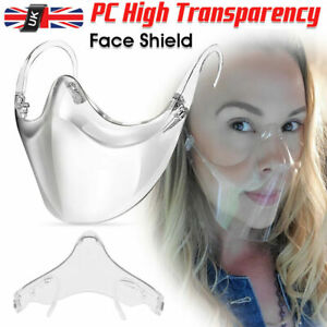 UK Face Shield Protective Face Mask Mouth Cover Transparent Clear Reusable