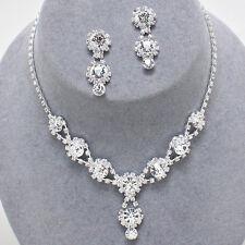 Glitzy Glamour - Clear diamante crystal sparkly drop necklace set Brides/Proms