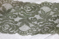 """$1 yard Olive Green galloon STRETCH lingerie headband lace 3.5"""" wide"""
