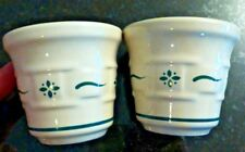 Longaberger (2) pottery votive cups Heritage Green accents - Fs -F