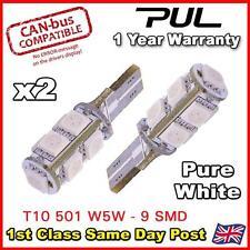 2 x sans erreur Canbus W5W T10 501 LED Côté Ampoule 9 SMD Blanc Pur UK navire