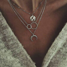 Multilayer Moon Women Silver Alloy Clavicle Choker Necklace Charm Chain Jewelry