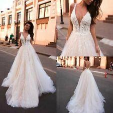 A Line Beach Pink Wedding Dresses Bridal Gowns V Neck 2 4 6 8 10 12 14 16 18 20