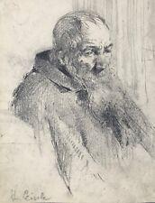 Gemälde Bleistift-Zeichnung Münchner Schule Porträt alter Mann Hans Eisele ~1890