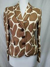 a3f9299a7b88 Moschino Cheap & Chic Blazer Jacket 40 6 Linen Animal Print Brown Beige  Pockets