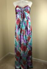 Laundry by Shelli Segal Size 8 Womens 100% Silk Maxi Dress Strapless Multicolor