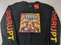 NEW Puma Disrupt Men L Black T-Shirt Graphic Hoop Lion Basketball Long Sleeve Q