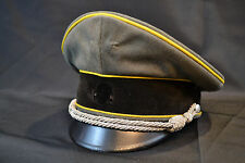 WWII RARE ELITE OFFICER VISOR HAT CAP LEMON YELLOW PIPED EARLY WW2 1940