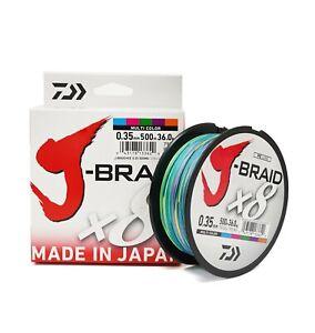 Daiwa J-Braid X8 Braided Fishing Line - Multi Color - 500m/546yd