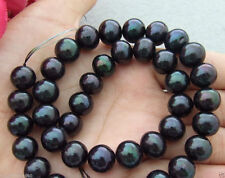Real 11-12mm Black Freshwater Cultured Pearl Round Loose Beads Strand AA