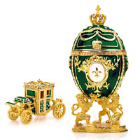 "Royal Imperial Green Faberge Egg Replica: Extra Large 6.6"" with Faberge carriage"