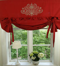 Raff Gardine HERZIG Rot Raffrollo 160 x100 cm Shabby Chic Vintage Curtain