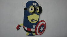 DESPICABLE ME MINION SUPERHERO CAPTAIN AMERICA #2 EMBROIDERED PATCH SEW  IRON ON