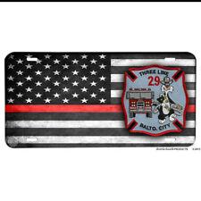 Baltimore City Fire Dept Three Line 29 Red Line Flag Aluminum License Plate