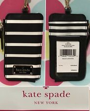New Kate Spade Edria Wilson Road French Stripe Lanyard/ Card Holder/ Wallet
