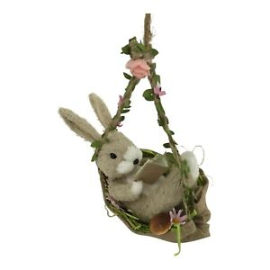 Hanging Easter Rabbit Hare Bunny Swing Hammock Rustic Floral Spring Decoration