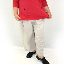 NEW NWT Hot Cotton Woman Plus Size Beige Tan Linen Blend Stretch Waist Pants 3X