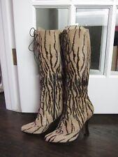 EUC MOSCHINO Women's Zebra Pony Hair Corset Boots 40 9 10