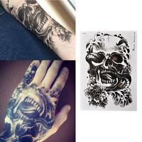 Waterproof Black Scary Temporary Tattoo Big Arm Body Art Tattoos Sticker SEAU