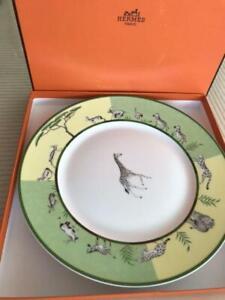 Hermes Africa Dinner Plate Green Dish Tableware Giraffe Animal Ornament New 11