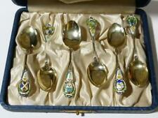 c1910 Canadian Guilloche Enamel SILVER 6 Tea Spoons maker's mark RH Cased