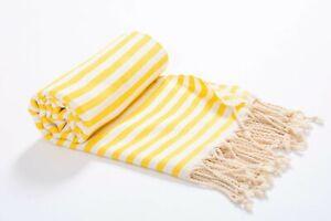 Striped Premium Beach Towel Yellow, 100% Cotton Soft Turkish Bath Towel