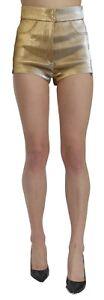 DOLCE & GABBANA Shorts Cotton Gold High Waist Mini Hot Pants IT42/US8/M RRP $600