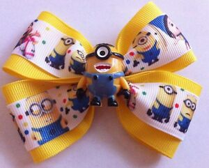 """Girls Hair Bow 4"""" Wide Minion Agnes Despicable Me Yellow Ribbon French Barrette"""