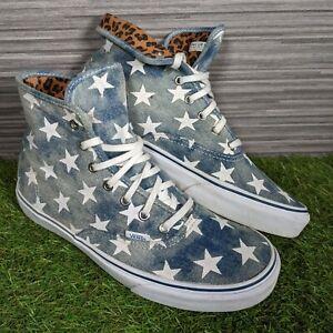 VANS OFF THE WALL Blue Denim Star & Leopard Print Lace Up Hi Top Trainers UK 8.5