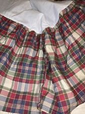 Ralph Lauren Chaps Sage Green Coral Preppy Plaid Queen Bed Skirt Dust Ruffle