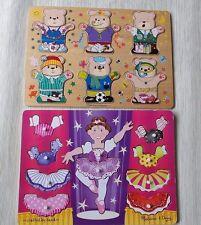 Melissa & Doug Match Mix Ballerina Dress Up Peg Puzzle & Silly Bears 2001 Wooden