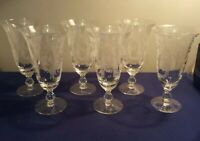 Set of 6 -Tiffin Cherokee Rose Franciscan Etched Glass Stemmed Ice Tea  6 3/4 In