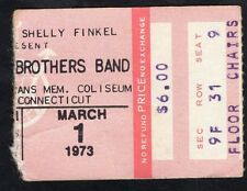 1973 Allman Brothers Wet Willie concert ticket stub New Haven Brothers Sisters