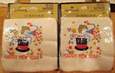 24 Vintage 1970's Petite Paper Coaster Size Napkins Hallmark Happy New Year Mip