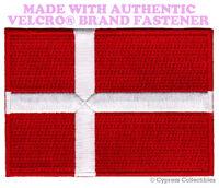 DENMARK NATIONAL FLAG PATCH DANE DANISH EMBROIDERED w/ VELCRO® Brand Fastener