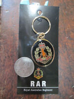 Royal Australian Regiment Key Ring On Card Australian RAR Crest Metal Badge