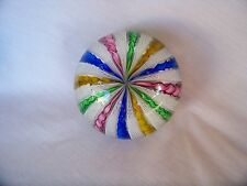 MURANO LATTICINO AND MULTI COLOR RIBBON PAPERWEIGHT EXCELLENT