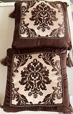 Jaclyn Smith 2 Brown Square Decorative Throw PillowsTassels,striped 1side