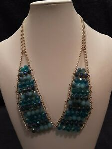 Blue and green beaded necklace with gold tone chain, earrings