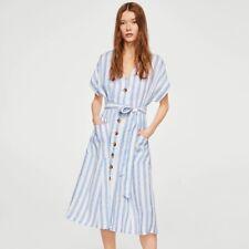 Mango Casual size Small Linen vertical Striped Midi Dress button front Pocket