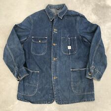 Vintage 40s 50s Denim Chore Jacket Indigo Barn Workwear Sanforized 1940s 1950s