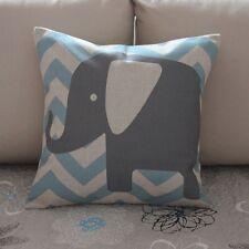 Grey Elephant Zig Zag Cotton Linen Throw Pillow Cushion Cover Home Decor Z374