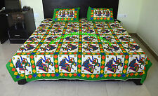 Dandiya Dance Print Double Bedsheet With Two Pillow Cover Rajasthani Traditional