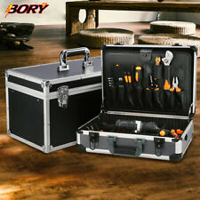 Key Locks Black Aluminum Tool Storage Boxes Organizer Case With Shoulder Strap