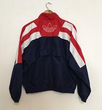 Vintage 90s Adidas Jacket Windbreaker Trefoil Logo Red White & Blue