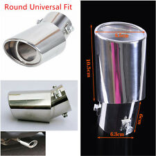 1x Round Bend Universal Stainless Steel Car Chrome Exhaust Tail Muffler Tip Pipe