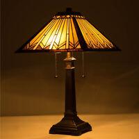 UL Listed 2-Light Tiffany Style Art Glass Geometry Table Lamp Home Decor