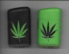 1 TECHNO CLASSIC REFILLABLE SINGLE FLAME JET TORCH LIGHTER WITH MARIJUANA LEAVES