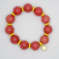 Stella Dot jewelry red stone yellow beaded bangle stretch bracelet for women
